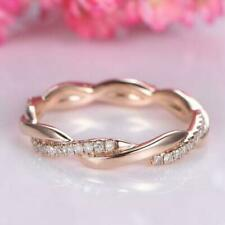 Wedding Band Ring 14k Real Rose Gold 0.15 ct Round Cut Diamond Twist Engagement