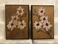 Mid-Century Pair of Carved/Painted Wooden Floral Botanical Wall Hangings,Vintage