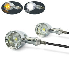 CHROME Retro Motorbike Motorcycle Integrated LED Indicators & Driving Lights DRL