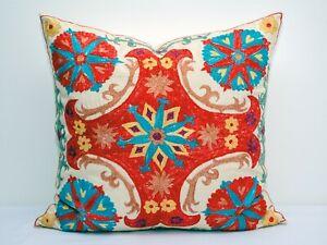 20x20 American Eagle Silk Suzani pillow cover, Uzbek handmade suzani embroidery