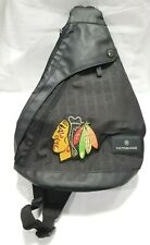 VICTORINOX Black Mono Sling Bag with Chicago Blackhawks Patch!