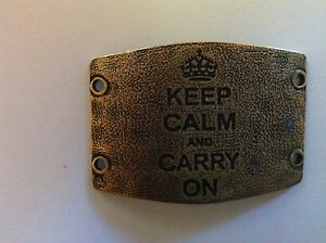 """LENNY & EVA - Large Sentiment - """"Keep calm and carry on"""" - Brass"""