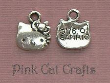 10 x hello kitty cat face tibetan silver charms pendentifs perles