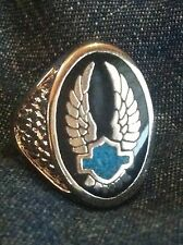 Silver Biker 'Wings & Turquoise Shield' Men's Ring* harley* Western*motorcycle