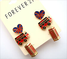 NWT Forever 21 Lot 3 pairs London British Heart Bus Phone Stud Earring Set