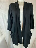 Karen Scott Women's Medium Black Cardigan 3/4 Sleeve Front Pockets NEW #67