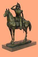 Handcrafted Detailed Rich Patina French Cavalryman Bronze Sculpture Home Art Dec