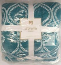 POTTERY BARN TEEN DROPLET GEO COMFORTER TWIN TEAL BLUE BRAND NEW #141