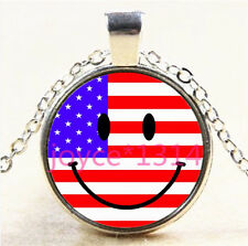 Smiley Face and Flag Cabochon Tibetan silver Glass Chain Pendant Necklace #5686