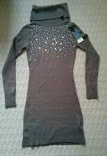 Women's Long Brown Jumper M/L circonia Turtle neck Acrylic Wool