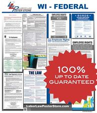 2018 Wisconsin WI State & Federal all in 1 LABOR LAW POSTER workplace compliance