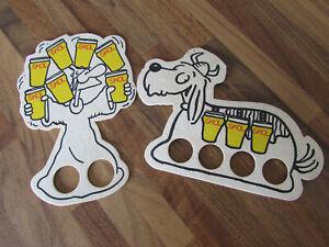 2 Vintage Skol Finger Puppets Hagar Lager Beer Mats/Display Cards 1980s