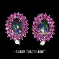 Oval Black Opal 7x5mm Ruby Round Diamond Cut 925 Sterling Silver Earrings