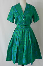 Vtg 50's Satin Green/Blue Dress Belted  Pleated  Short Sleeve Mid-Calf Size S