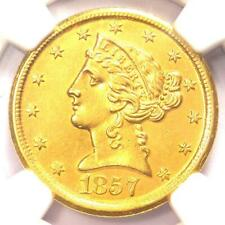 1857-D Liberty Gold Half Eagle $5 Dahlonega Coin - NGC Uncirculated Detail (MS)