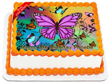 Butterflies Edible Icing Image Cake Decoration Birthday Party Topper