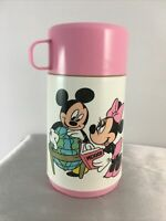 Vintage Disney Mickey Minnie Mouse Crafting in School Classroom Pink Thermos Cup