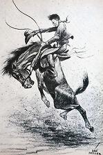 Dan Muller Horses 1936 BRONCS - COWBOY RIDING BUCKING HORSE Matted Vintage Print