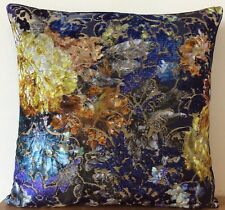 Designers Guild Zambelli Cobalt and Varese Denim velvet cushion cover