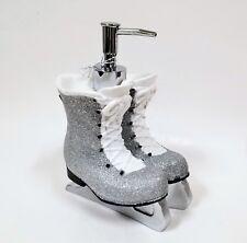 NEW WHITE+SILVER GLITTERY RESIN ICE SKATE,BOOT KITCHEN,BATHROOM SOAP DISPENSER