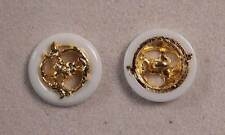 "Set of 6 JHB Gold White Round Plastic Buttons Flower Branches 13/16"" 20 mm lyk29"