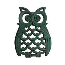 Verdigris Finish Cast Iron Owl Wall Art Ornament For The Garden