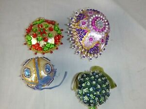 4 Vtg Satin Jeweled Sequined Ball Christmas Ornaments Decorations Multi Colored