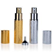 Set 2 Vintage Metal Glass Empty Refillable Perfume Bottle Atomizer Spray Gift
