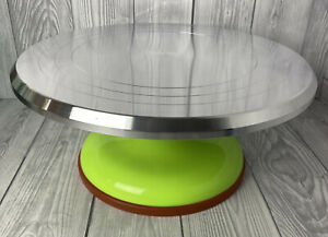 12 inch Revolving Cake Decorating Icing Turntable Green Smooth Action NEW NO BOX