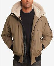 $405 Sean John Men'S Beige Hooded Fleece Lined Full Zip Bomber Jacket Size M