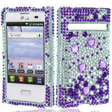 LG Optimus Zone VS410 Crystal Diamond BLING Hard Case Cover Purple Silver