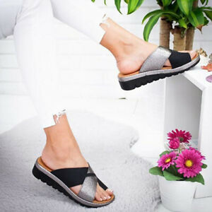 Womens Wedge Platform Slippers Bunion Corrector Toe Flip Flops Beach Shoes Size