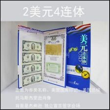 USA UNCUT 4x TWO DOLLAR US$2 banknote with hard folder & certificate (UNC) #2