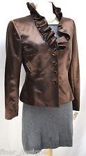 Kay Unger New York Blazer 100% silk shimmer jacket ruffle evening top 4 NWT $290