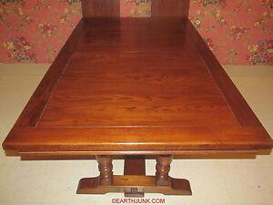 Ethan Allen Trestle Table Royal Charter Oak Rectangular Shape & Leaves 16 6023