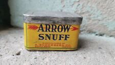 VINTAGE Arrow Snuff container tobacco tin box bottle can tag South Bend Indiana