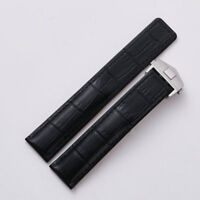 22mm Black Leather Replacement Watch Strap Band Made For Tag Heuer Chronograph