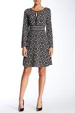 Max Studio Long Sleeve Inset Waist Printed Dress Sz S $118