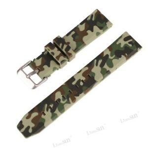 Fashion Military Army Camo Watch Band Sports Silicone Rubber Strap 20mm 22mm