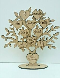 Wooden Oak Family Tree, With Up To Ten Personalised Hearts, Family Plaque, Gift.