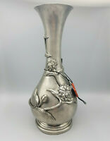 Zinn Vase La Maison Frankreich Blümenmotiv ca 26,5cm hoch