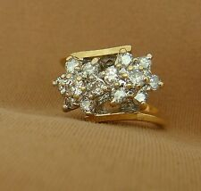 Vintage 14K YG Bypass Design Ring With Two Diamond Flowers - Size 3.75