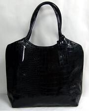 Neiman Marcus Tote Black Croc Design Lined Htf Purse Bag