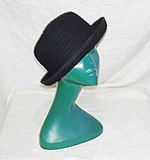 SIMPLE CHIC BLACK FRENCH RIDGED FELT BOWLER HAT M/L FORMAL OR INFORMAL VERSATILE