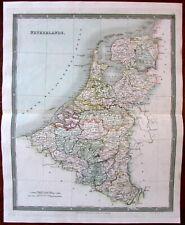 Netherlands Holland Nederland c.1831 Teesdale engraved hand color old map