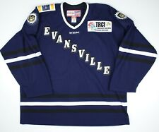 Evansville IceMen Jacksonville Game Authentic Blue Hockey Jersey 58 ECHL CCM