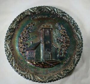 Fenton CARNIVAL GLASS- The LIttle brown church in the vale plate Christmas 1970