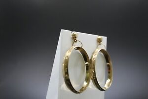 9ct Yellow Gold Movable Large Hoop Earrings