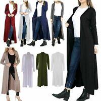 Femme Femmes manches longues Maxi Boyfriend Cardigan ouvert Cardigans ample 8-26 UK