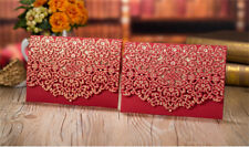 50Pcs Wedding Invitation Card Kit with Envelopes Seals Personalized Printing Red